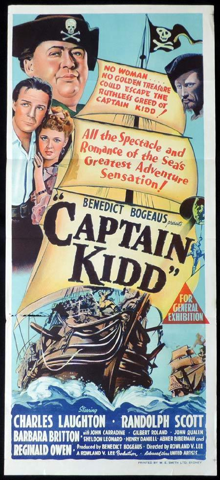 CAPTAIN KIDD Original Daybill Movie Poster Randolph Scott Charles Laughton