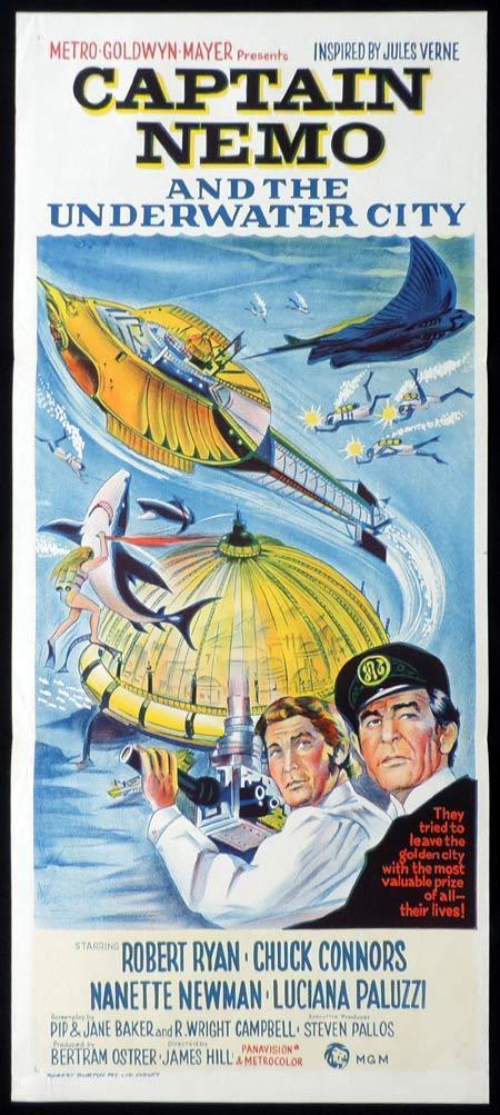 CAPTAIN NEMO AND THE UNDERWATER CITY Original daybill Movie poster Robert Ryan Sci FI