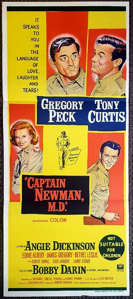 CAPTAIN NEWMAN MD Original Daybill Movie Poster  Gregory Peck Tony Curtis Angie Dickinson
