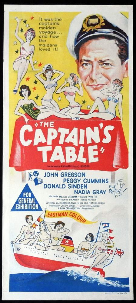 THE CAPTAIN'S TABLE Original Daybill Movie Poster John Gregson
