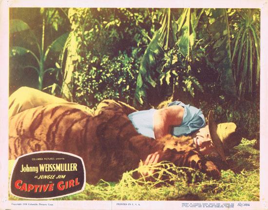 CAPTIVE GIRL 1950 Jungle Jim Johnny Weissmuller VINTAGE Lobby Card 3