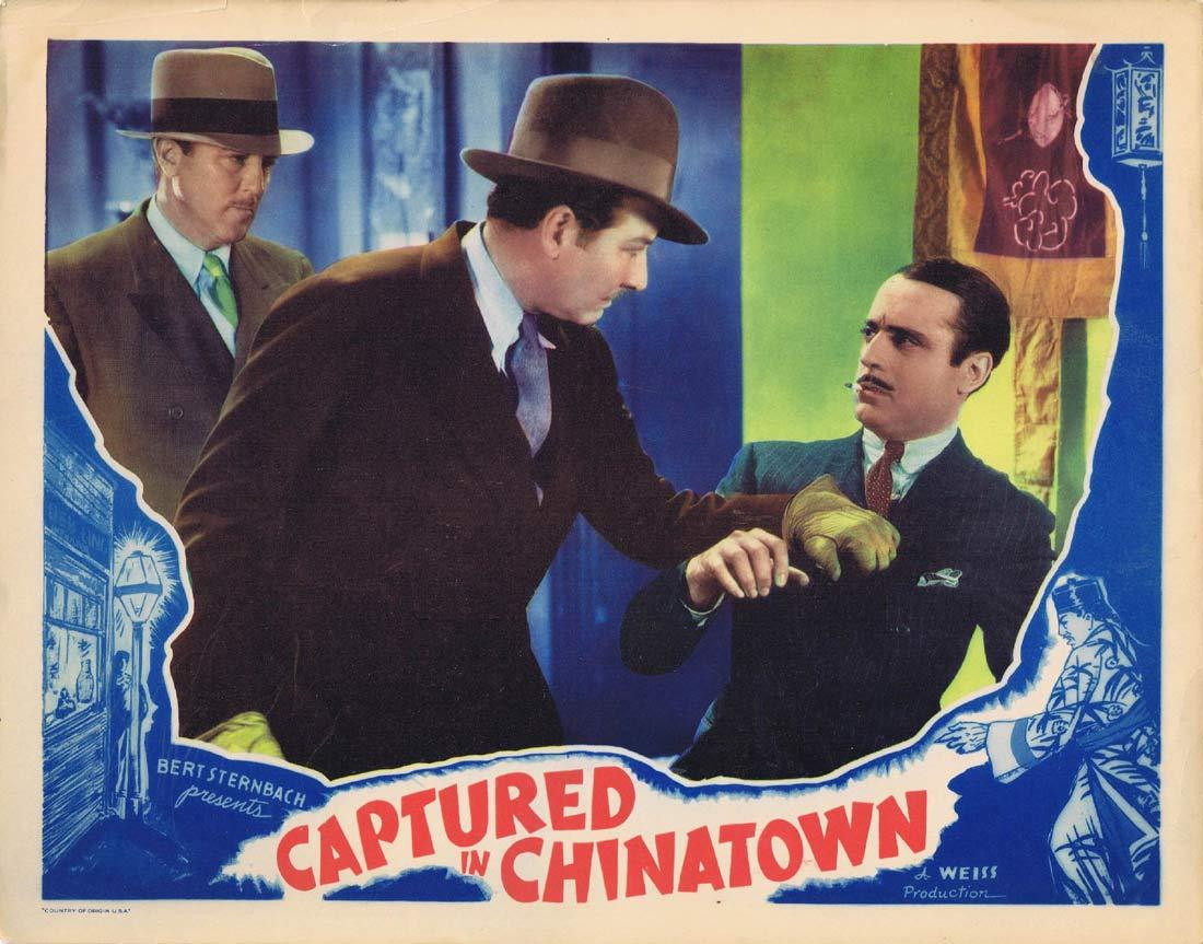 CAPTURED IN CHINATOWN Original Lobby Card Tarzan Police Dog Marion Shilling Charles Delaney
