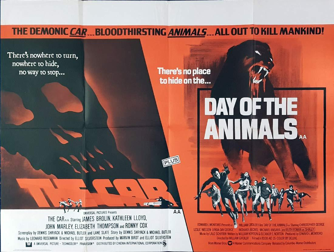 THE CAR plus DAY OF THE ANIMALS British Quad Movie poster Double Feature