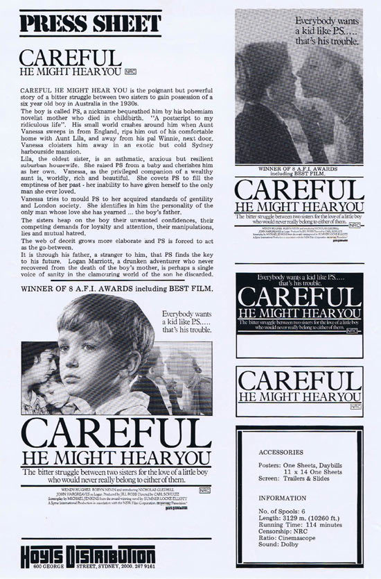 CAREFUL HE MIGHT HEAR YOU Rare AUSTRALIAN Movie Press Sheet