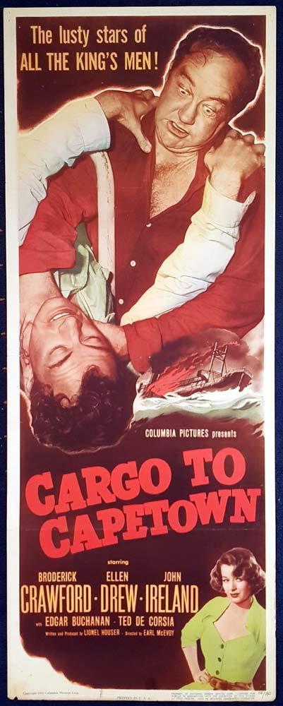 CARGO TO CAPETOWN US Insert Movie poster Broderick Crawford