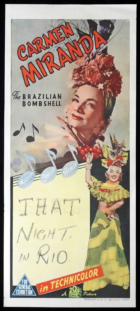 CARMEN MIRANDA Original Marchant Stock Daybill Movie poster That Night in Rio