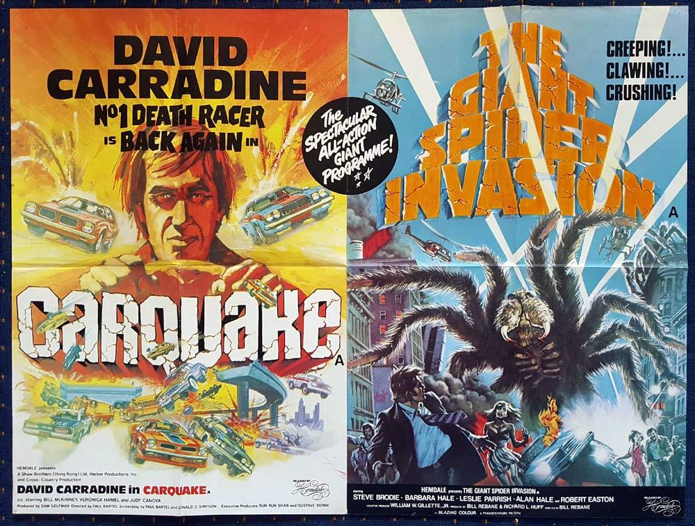 CARQUAKE GIANT SPIDER INVASION Double Bill Sci Fi British Quad Movie poster