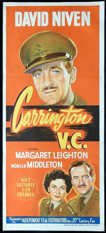 CARRINGTON VC Original daybill Movie Poster David Niven Margaret Leighton Noelle Middleton