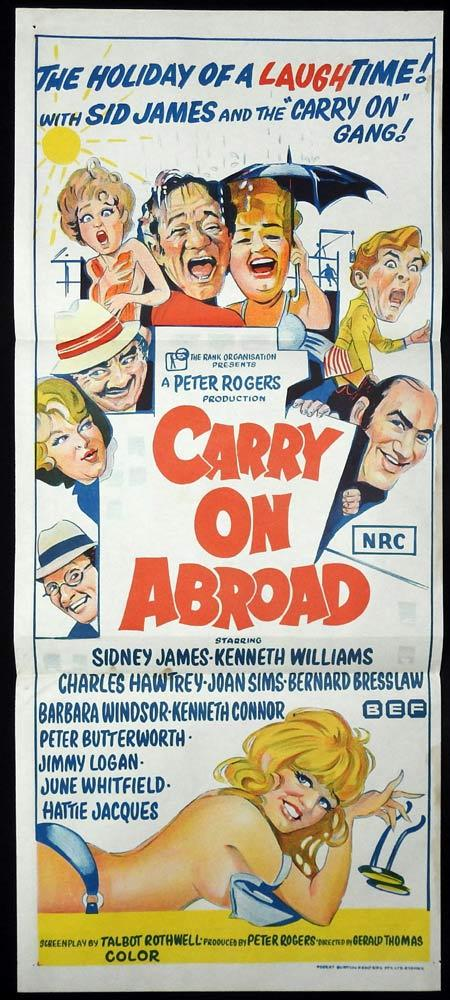 CARRY ON ABROAD Original Daybill Movie poster Kenneth Williams Sid James