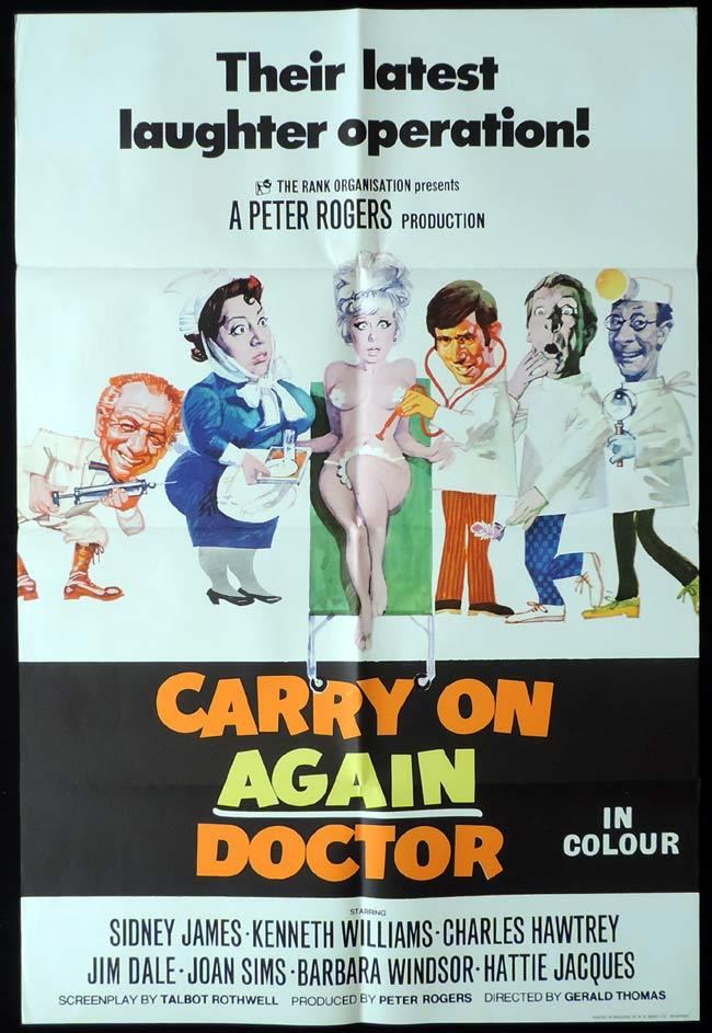 CARRY ON AGAIN DOCTOR British One Sheet Movie Poster Kenneth Williams Sid James