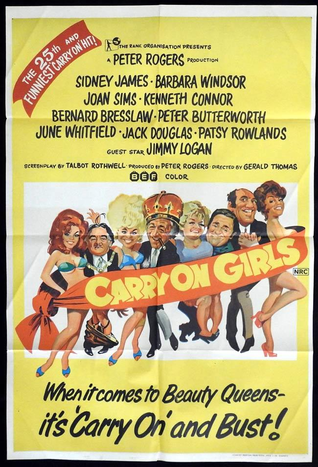 CARRY ON GIRLS Original One sheet Movie Poster Sid James Barbara Windsor Joan Sims