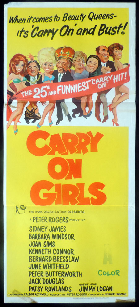 Carry On Girls, Gerald Thomas, Sid James, Joan Sims, Barbara Windsor, Patsy Rowlands, Kenneth Connor, Bernard Bresslaw, Jack Douglas, Wendy Richard, Peter Butterworth, June Whitfield, Margaret Nolan, Jimmy Logan