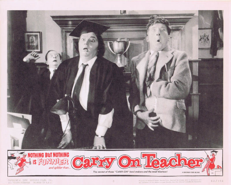 Carry On Teacher, Lobby Card, Gerald Thomas, Kenneth Williams, Kenneth Connor, Charles Hawtrey, Leslie Phillips, Joan Sims, Hattie Jacques, Ted Ray, Richard O'Sullivan, Carol White, Rosalind Knight