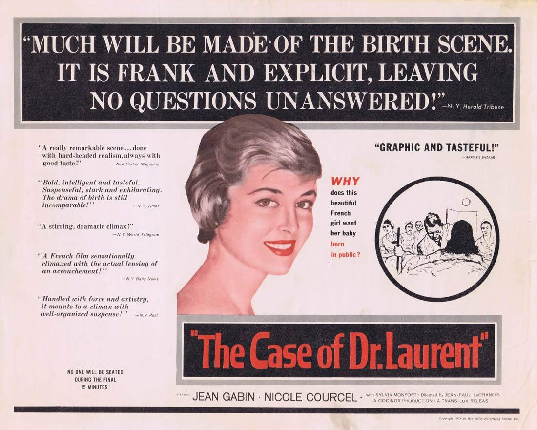 THE CASE OF DR LAURENT Title Lobby Card Jean Gabin Nicole Courcel Silvia Monfort