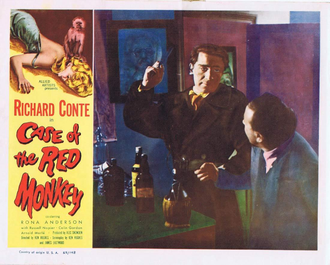 CASE OF THE RED MONKEY Lobby Card 4 Richard Conte Rona Anderson Russell Napier