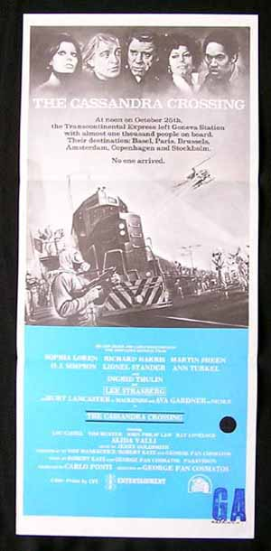 THE CASSANDRA CROSSING Original Daybill Movie poster Sophia Loren
