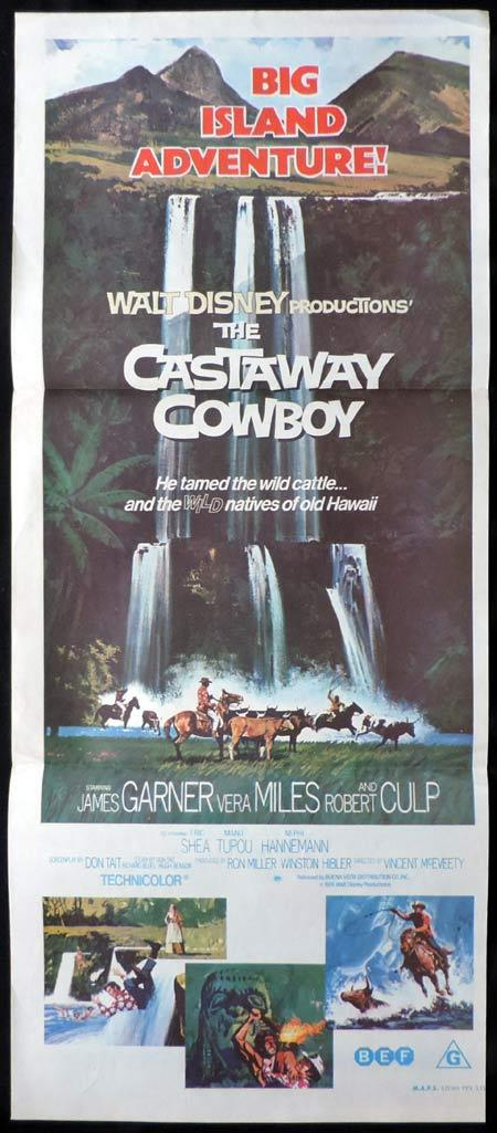 CASTAWAY COWBOY Original Daybill Movie Poster Walt Disney James Garner Vera Miles