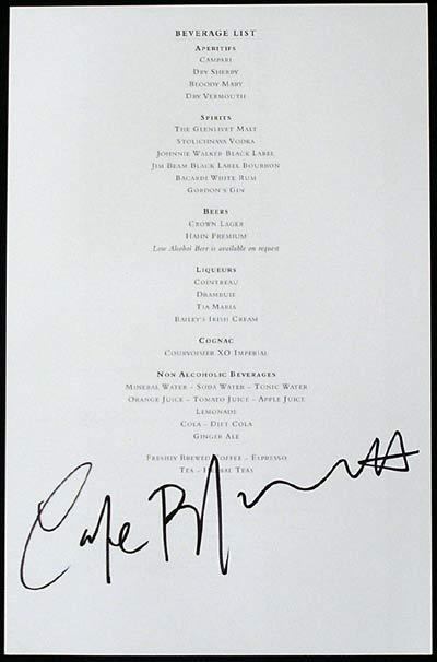 CATE BLANCHETT Autograph on Qantas First Class Beverage List