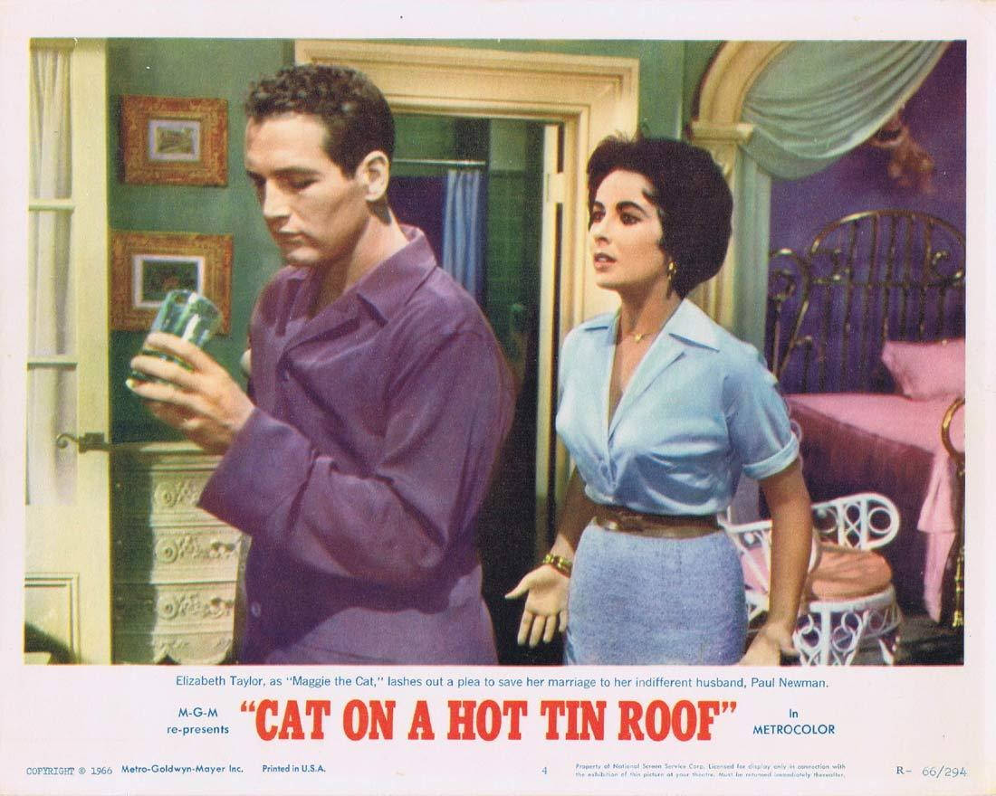 CAT ON A HOT TIN ROOF Original Lobby Card 4 Elizabeth Taylor Paul Newman 1966r