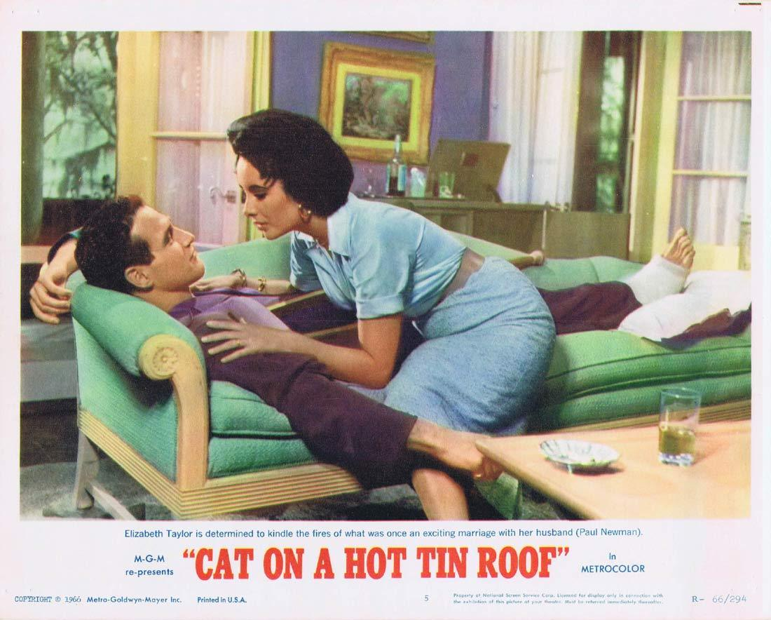 CAT ON A HOT TIN ROOF Original Lobby Card 5 Elizabeth Taylor Paul Newman 1966r