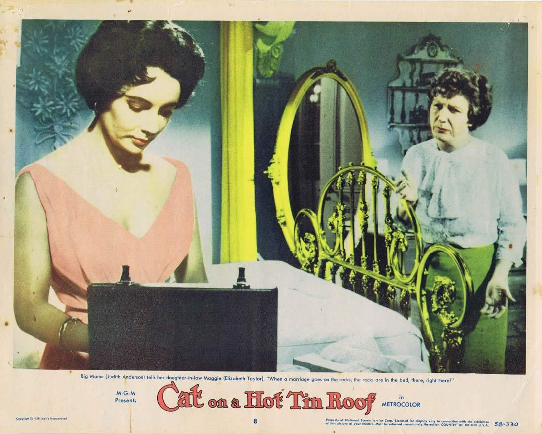 CAT ON A HOT TIN ROOF Original Lobby Card 8 Elizabeth Taylor Paul Newman