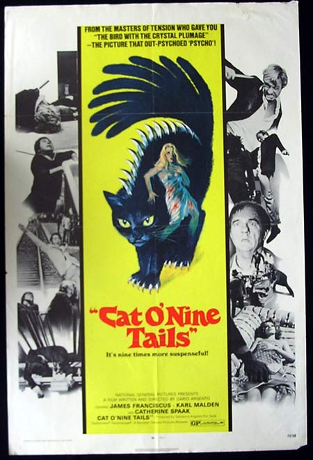 CAT O'NINE TAILS '71-Dario Argento Original US One sheet poster