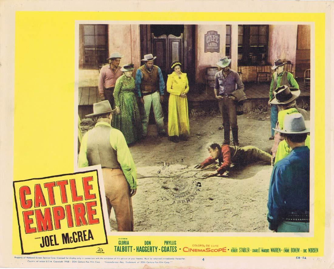 CATTLE EMPIRE Original Lobby Card 4 Joel McCrea Gloria Talbott