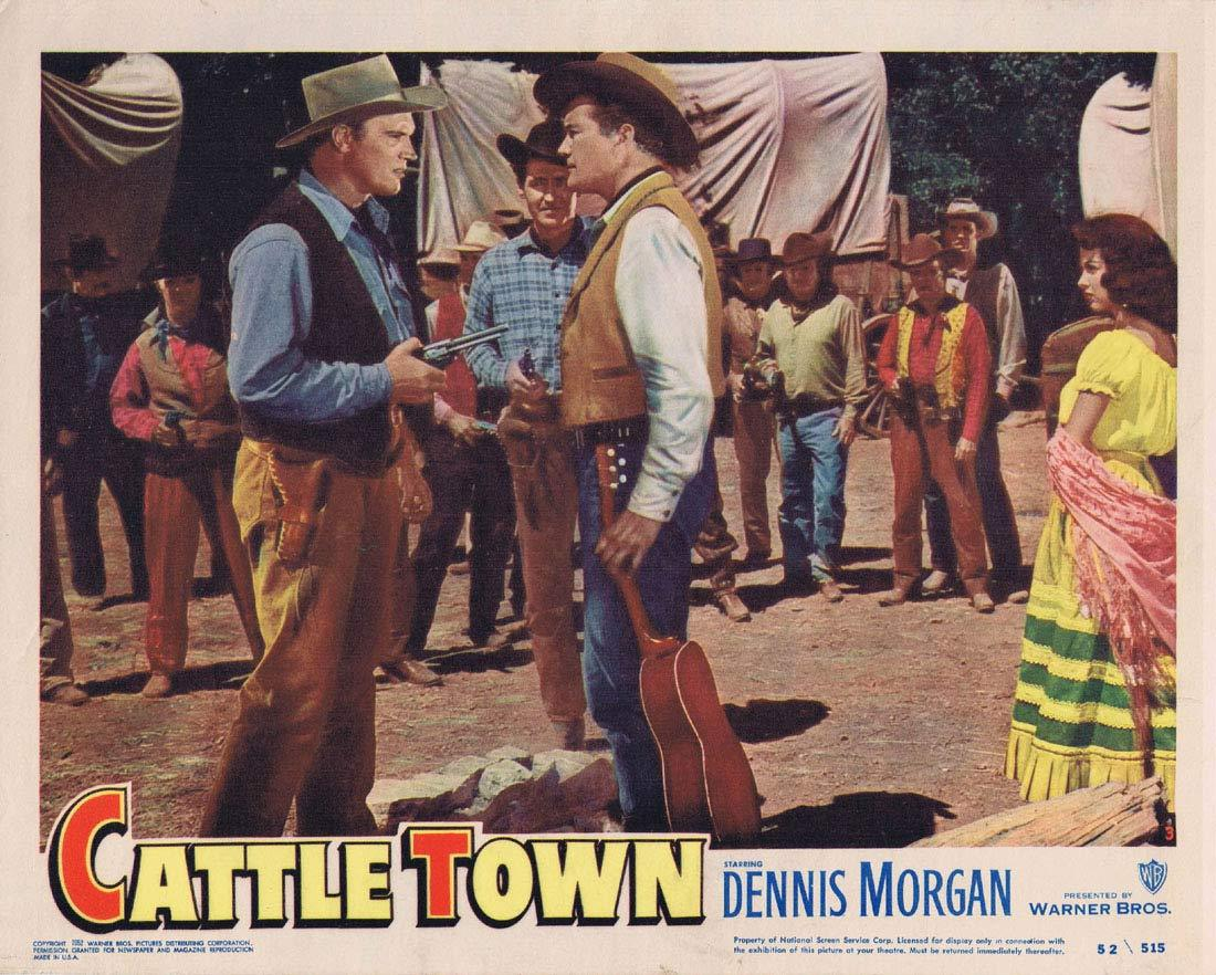 CATTLE TOWN Original Lobby Card 3 Dennis Morgan Philip Carey Amanda Blake