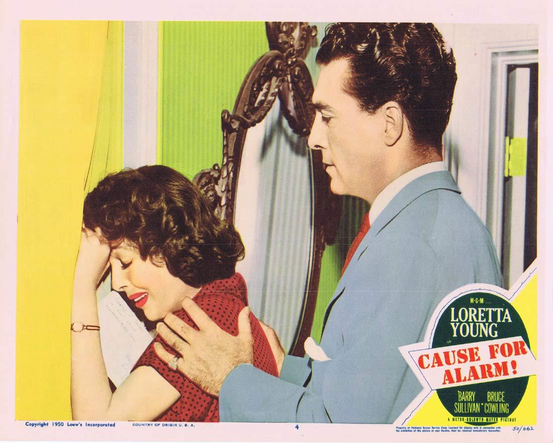 CAUSE FOR ALARM Original Lobby Card 4 Loretta Young Barry Sullivan Bruce Cowling