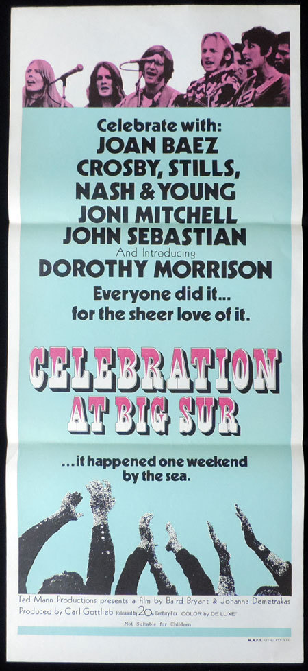 CELEBRATION AT BIG SUR Daybill Movie Poster Joan Baez Crosby Stills and Nash