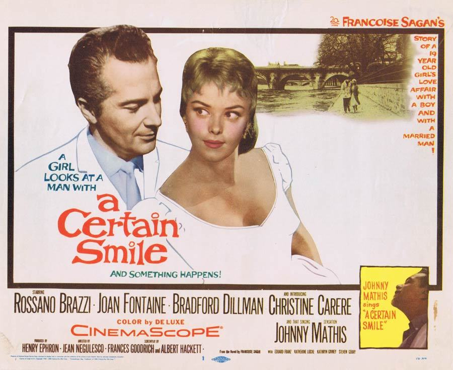 A CERTAIN SMILE Title Lobby card Rossano Brazzi Joan Fontaine