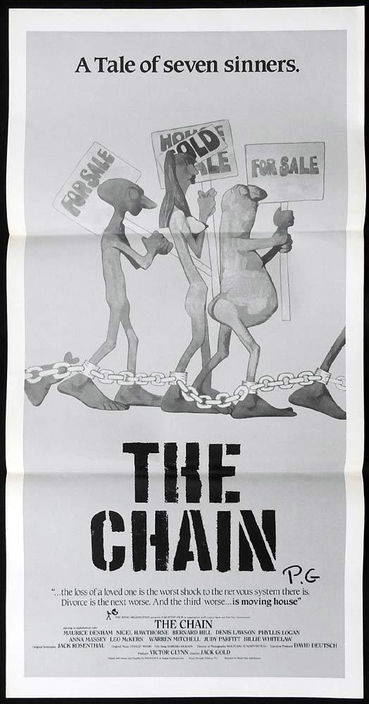 THE CHAIN Original Daybill Movie Poster Nigel Hawthorne Maurice Denham Leo McKern