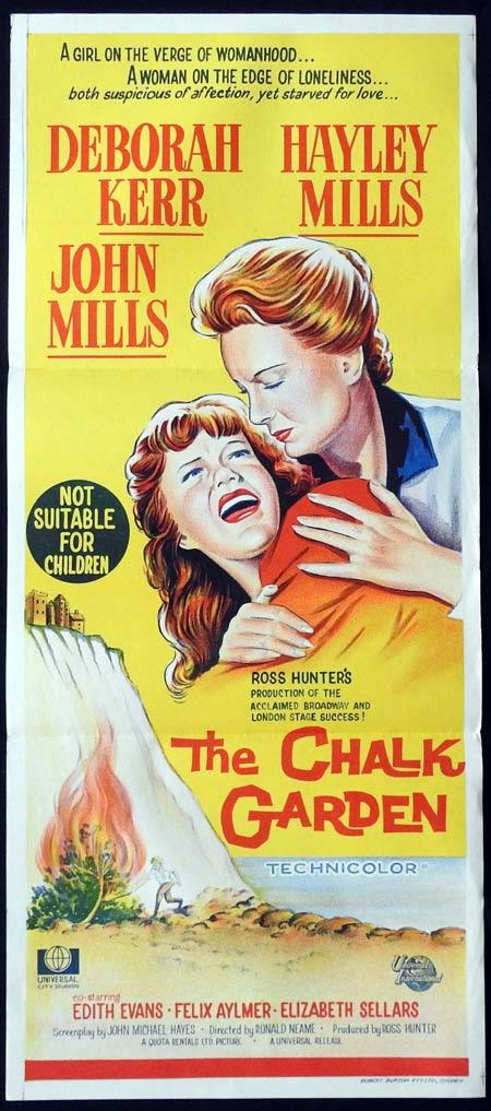THE CHALK GARDEN Original daybill Movie Poster Deborah Kerr Hayley Mills