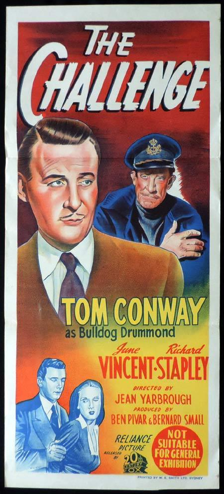THE CHALLENGE Original Daybill Movie Poster Tom Conway Bulldog Drummond