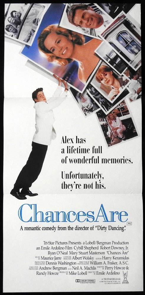 CHANCES ARE Original Daybill Movie Poster Robert Downey Jr Cybill Shepherd