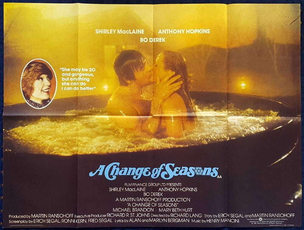 A CHANGE OF SEASONS British Quad Movie poster Bo Derek Shirley MacLaine