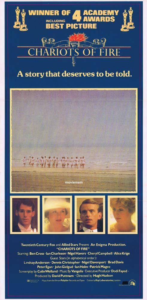 CHARIOTS OF FIRE Rare daybill movie poster BEN CROSS Ian Charleson Awards style