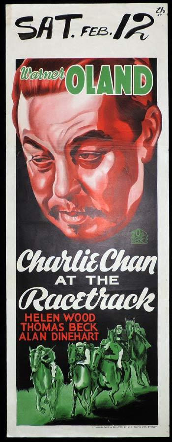 CHARLIE CHAN AT THE RACETRACK Long Daybill Movie poster 1936 Warner Oland