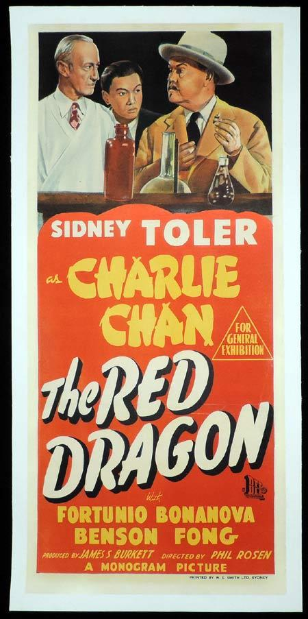 CHARLIE CHAN THE RED DRAGON Daybill Movie poster Linen Backed Sidney Toler