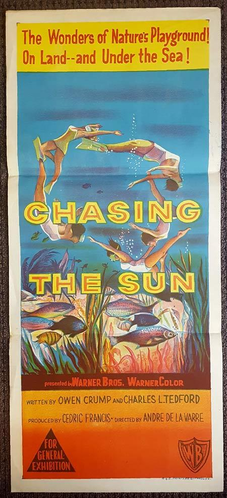 CHASING THE SUN Original Daybill Movie Poster OWEN CRUMP Skin Diving Scuba