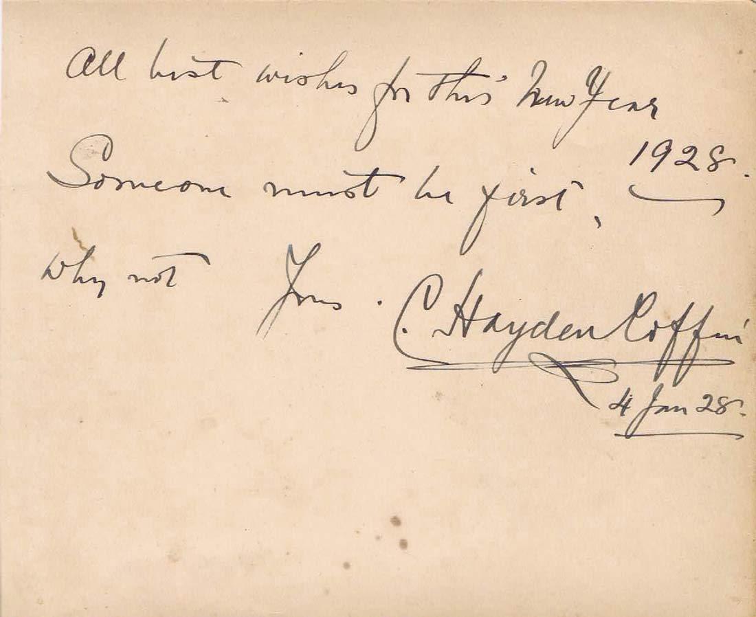C.HAYDEN COFFIN Autographed Album Page 1952