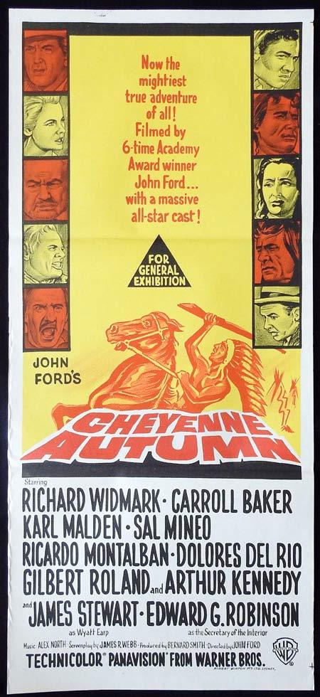 CHEYENNE AUTUMN Original Daybill Movie Poster Richard Widmark Carroll Baker James Stewart