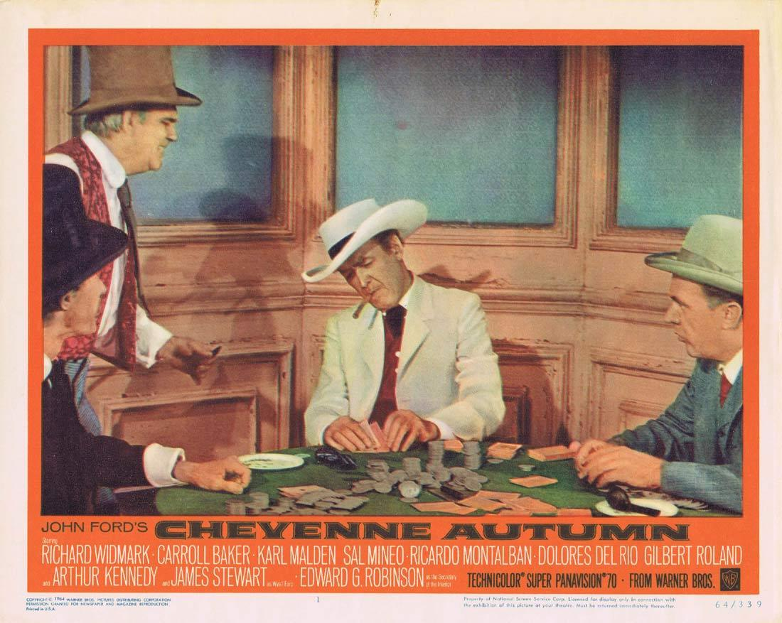 CHEYENNE AUTUMN Original Lobby Card 1 James Stewart Gambling