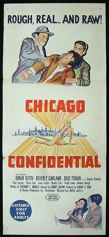 CHICAGO CONFIDENTIAL Original Daybill Movie poster Beverly Garland Brian Keith