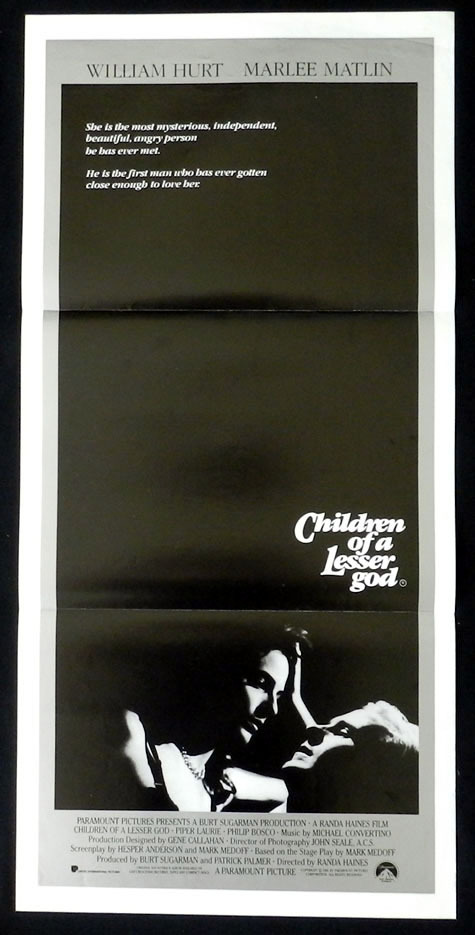 CHILDREN OF A LESSER GOD William Hurt Marlee Matlin VINTAGE Daybill Movie poster