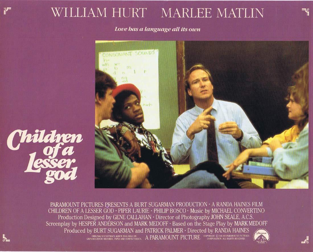 CHILDREN OF A LESSER GOD Original Lobby Card 1 William Hurt Marlee Matlin