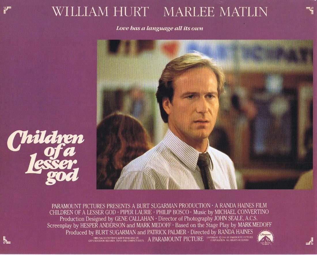 CHILDREN OF A LESSER GOD Original Lobby Card 3 William Hurt Marlee Matlin