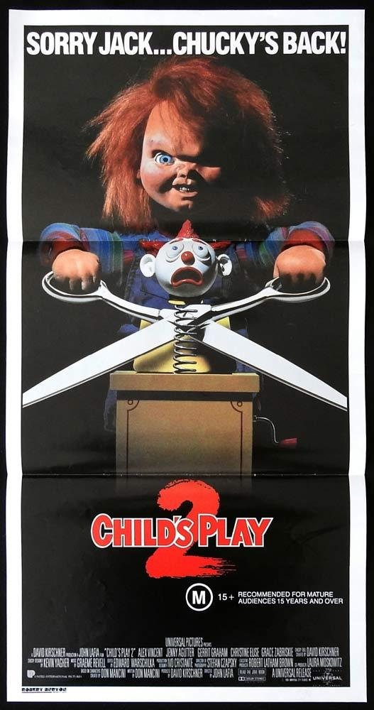 CHILD'S PLAY 2 Original Daybill Movie poster Jenny Agutter Horror Chucky