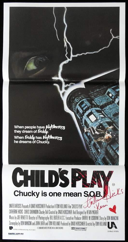 CHILD'S PLAY Original Daybill Movie poster Chucky AUTOGRAPHED by CATHERINE HICKS