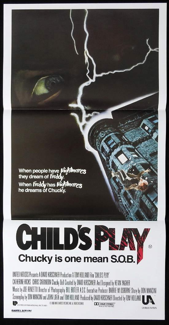 CHILD'S PLAY Original Daybill Movie Poster CHUCKY Catherine Hicks Horror